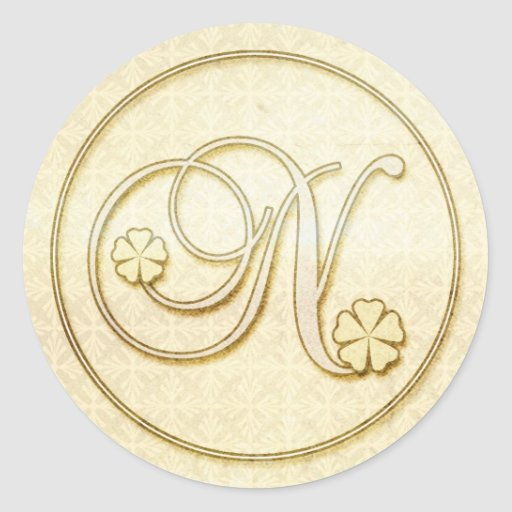 Personalized Wedding Stickers :Initial Monogram N