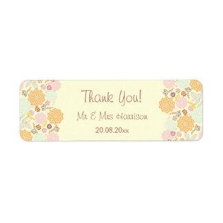Personalized Wedding Thank You Fancy Modern Floral Return Address Label