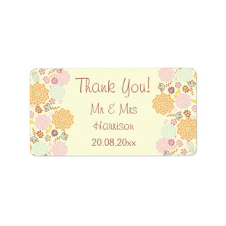 Personalized Wedding Thank You Fancy Modern Floral Address Label