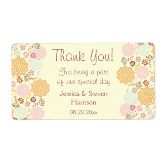 Personalized Wedding Thank You Fancy Modern Floral Shipping Label
