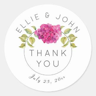 Personalized Wedding Thank You Hot Pink Hydrangea Round Sticker