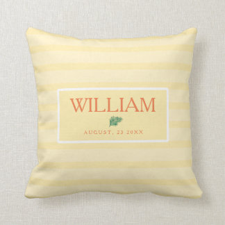 Personalized Wedding Throw Pillow in Yellow Stripe