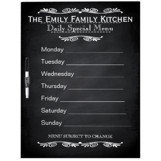 Personalized Weekly Dinner Menu Black Chalkboard Dry Erase Board