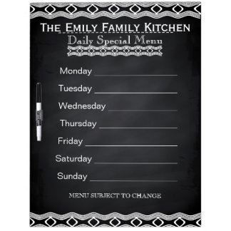 Personalized Weekly Dinner Menu Black Chalkboard Dry Erase Board