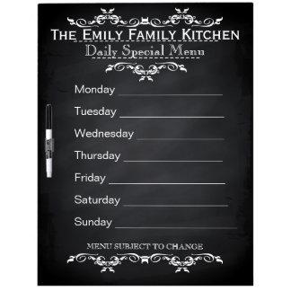 Personalized Weekly Dinner Menu Black Chalkboard Dry-Erase Whiteboard