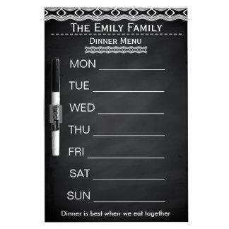 Personalized Weekly Dinner Menu Black Chalkboard Dry Erase Whiteboard