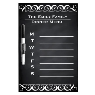 Personalized Weekly Dinner Menu Blackboard Chalk