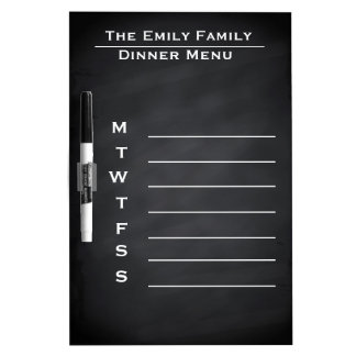Personalized Weekly Dinner Menu Blackboard Chalk Dry-Erase Board