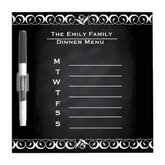 Personalized Weekly Dinner Menu Blackboard Chalk Dry Erase White Board