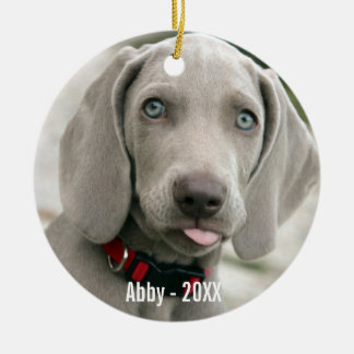 Personalized Weimaraner Dog Photo and Dog Name Christmas Ornament