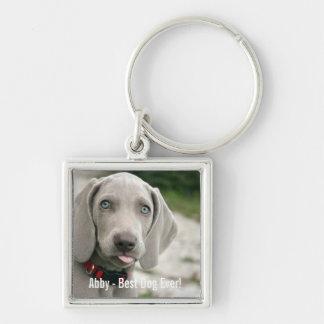 Personalized Weimaraner Dog Photo and Dog Name Key Ring