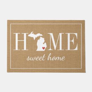 Personalized Welcome Home Michigan Jute Doormat