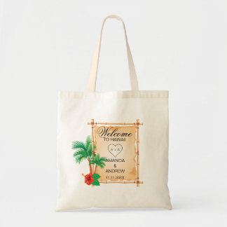 Personalized WELCOME Palms Bamboo Wedding Tote Bag
