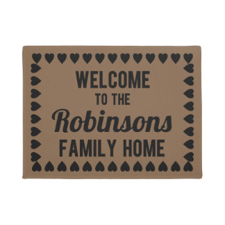 Personalized Welcome to Our Family Home Mat