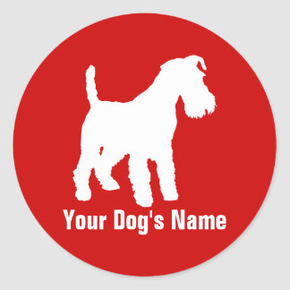 Personalized Welsh Terrier ウェルシュ・テリア Round Sticker