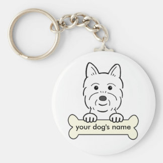 Personalized Westie Basic Round Button Key Ring