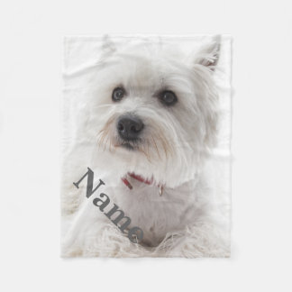 Personalized Westie Dog Pet Fleece Blanket