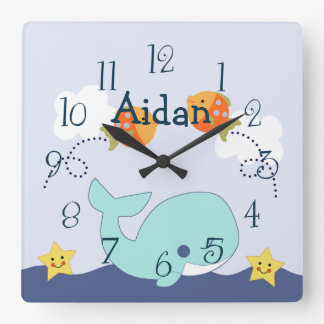 "Personalized ""Whale in Blue Lagoon"" Nursery Clock"