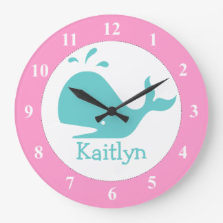 Personalized whale wall clock for nursery room