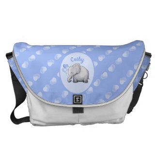 Personalized Whimsical New Mom's Hearts Elephants Messenger Bag