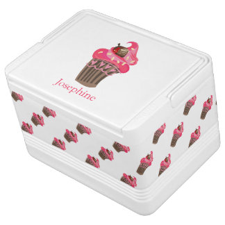 Personalized Whimsy Pink Cupcake Cooler Igloo Cooler