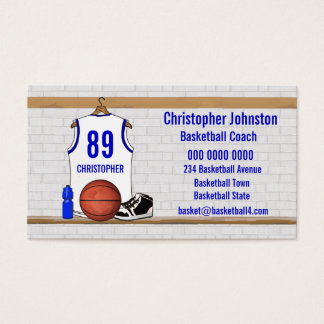 Personalized White and Blue Basketball Jersey Business Card