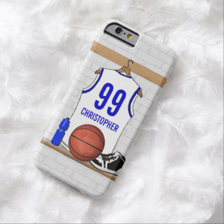 Personalized White and Blue Basketball Jersey Barely There iPhone 6 Case