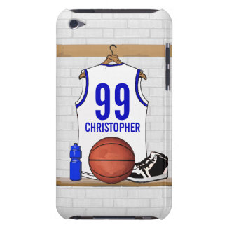 Personalized White and Blue Basketball Jersey iPod Touch Cases