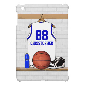Personalized White and Blue Basketball Jersey Case For The iPad Mini