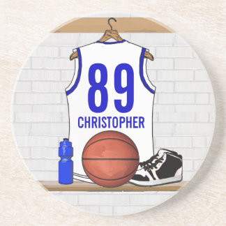 Personalized White and Blue Basketball Jersey Coaster