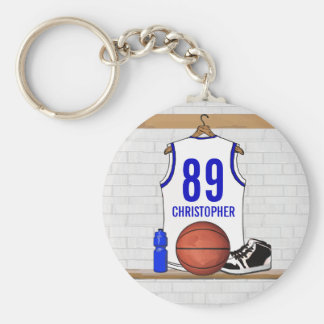 Personalized White and Blue Basketball Jersey Basic Round Button Key Ring