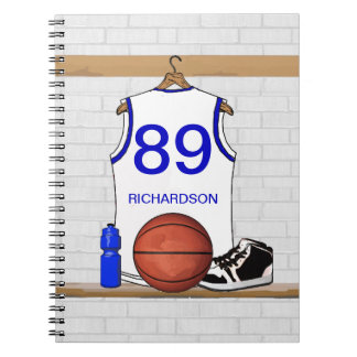 Personalized White and Blue Basketball Jersey Notebooks