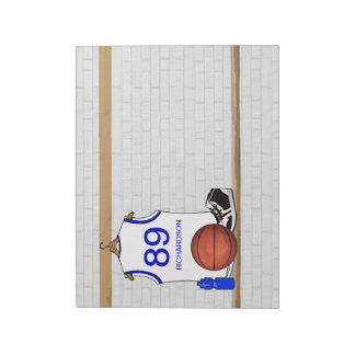 Personalized White and Blue Basketball Jersey Notepads