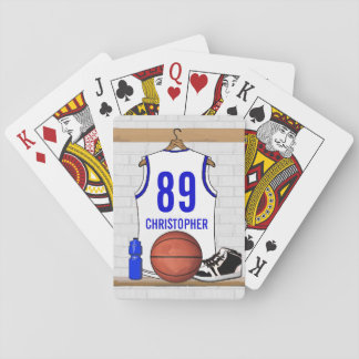 Personalized White and Blue Basketball Jersey Poker Cards