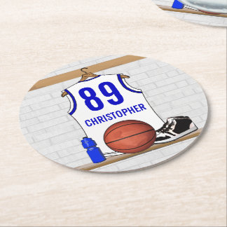 Personalized White and Blue Basketball Jersey Round Paper Coaster