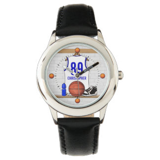 Personalized White and Blue Basketball Jersey Watch