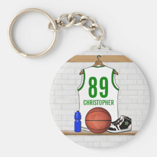 Personalized White and Green Basketball Jersey Basic Round Button Key Ring