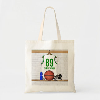 Personalized White and Green Basketball Jersey Tote Bag