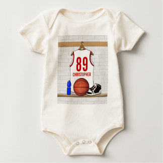 Personalized White and Red Basketball Jersey Baby Bodysuit