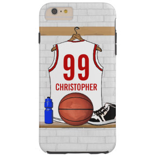 Personalized White and Red Basketball Jersey Tough iPhone 6 Plus Case