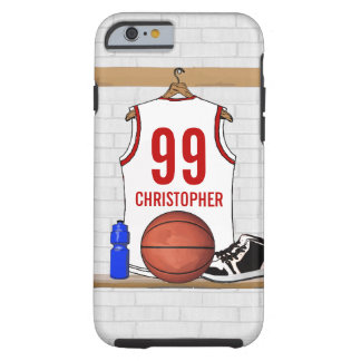 Personalized White and Red Basketball Jersey Tough iPhone 6 Case
