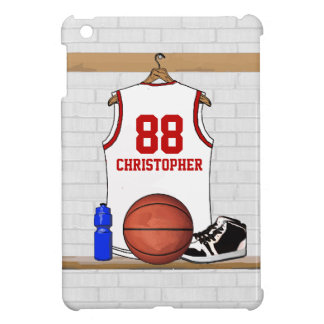 Personalized White and Red Basketball Jersey iPad Mini Case