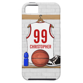 Personalized White and Red Basketball Jersey iPhone 5 Cases