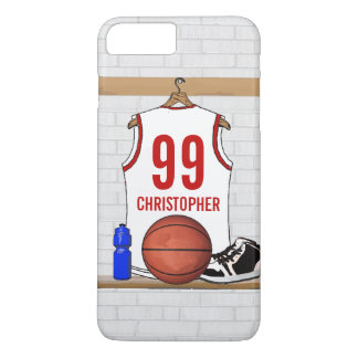 Personalized White and Red Basketball Jersey iPhone 7 Plus Case