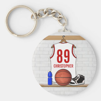 Personalized White and Red Basketball Jersey Basic Round Button Key Ring