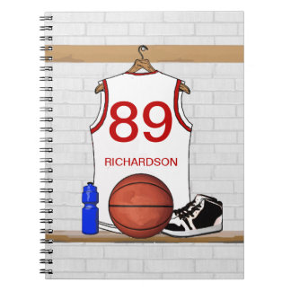 Personalized White and Red Basketball Jersey Notebook