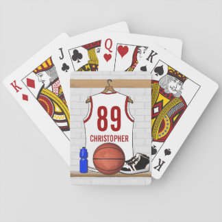 Personalized White and Red Basketball Jersey Poker Deck