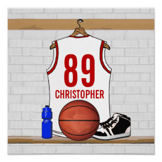 Personalized White and Red Basketball Jersey Poster
