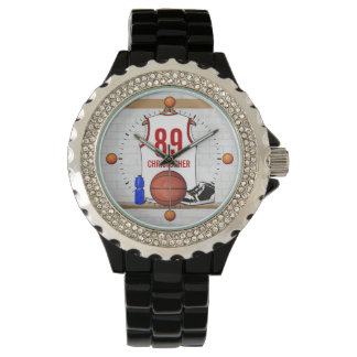 Personalized White and Red Basketball Jersey Watch
