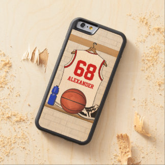 Personalized White and Red Basketball Jersey Carved® Maple iPhone 6 Bumper